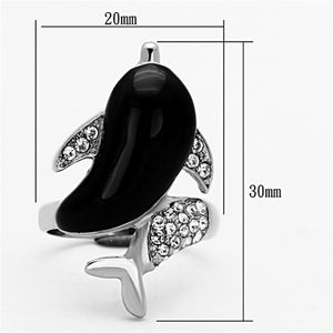 TK1326 High polished (no plating) Stainless Steel Ring with Top Grade Crystal in Clear