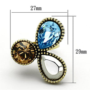 TK1496 IP Gold(Ion Plating) Stainless Steel Ring with Top Grade Crystal in Multi Color