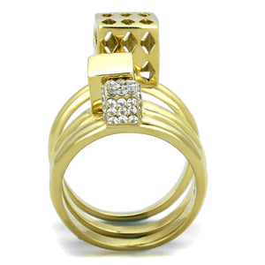 TK1630 IP Gold(Ion Plating) Stainless Steel Ring with AAA Grade CZ in Clear