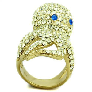 TK1640 IP Gold(Ion Plating) Stainless Steel Ring with Top Grade Crystal in Multi Color