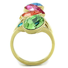 Load image into Gallery viewer, TK1729 IP Gold(Ion Plating) Stainless Steel Ring with Top Grade Crystal in Multi Color
