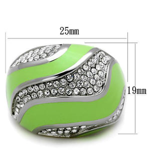 TK1741 High polished (no plating) Stainless Steel Ring with Top Grade Crystal in Clear