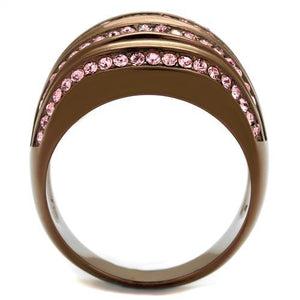 TK1789LC IP Coffee light Stainless Steel Ring with Top Grade Crystal in Light Rose