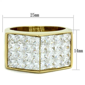 TK1808 IP Gold(Ion Plating) Stainless Steel Ring with AAA Grade CZ in Clear