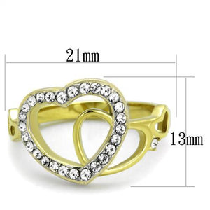 TK1908 Two-Tone IP Gold (Ion Plating) Stainless Steel Ring with Top Grade Crystal in Clear