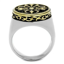 Load image into Gallery viewer, TK2241 Two-Tone IP Gold (Ion Plating) Stainless Steel Ring with Epoxy in Jet