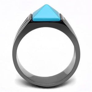 TK3074 IP Light Black  (IP Gun) Stainless Steel Ring with Synthetic in Sea Blue