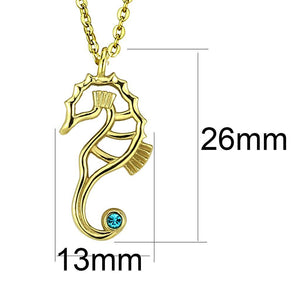 TK3296 IP Gold(Ion Plating) Stainless Steel Necklace with Top Grade Crystal in Blue Zircon