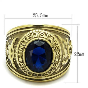 TK414708G - IP Gold(Ion Plating) Stainless Steel Ring with Synthetic Synthetic Glass in Montana