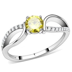 DA005 - High polished (no plating) Stainless Steel Ring with AAA Grade CZ  in Topaz