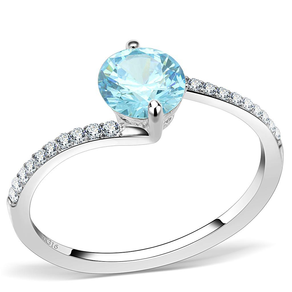 DA014 - High polished (no plating) Stainless Steel Ring with AAA Grade CZ  in Sea Blue