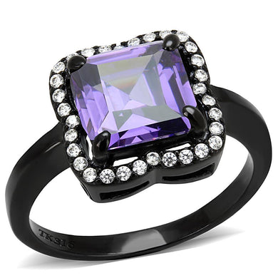 DA028 IP Black(Ion Plating) Stainless Steel Ring with AAA Grade CZ in Amethyst