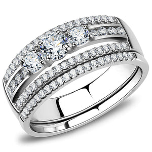 DA062 - High polished (no plating) Stainless Steel Ring with AAA Grade CZ  in Clear
