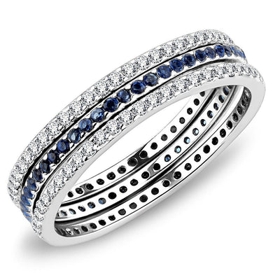 DA066 - High polished (no plating) Stainless Steel Ring with AAA Grade CZ  in London Blue