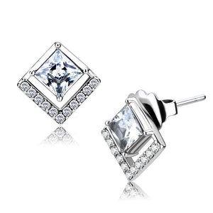 DA071 - High polished (no plating) Stainless Steel Earrings with AAA Grade CZ  in Clear