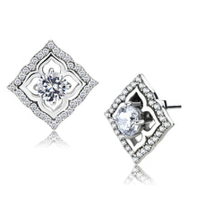 Load image into Gallery viewer, DA073 - High polished (no plating) Stainless Steel Earrings with AAA Grade CZ  in Clear