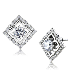 DA073 - High polished (no plating) Stainless Steel Earrings with AAA Grade CZ  in Clear