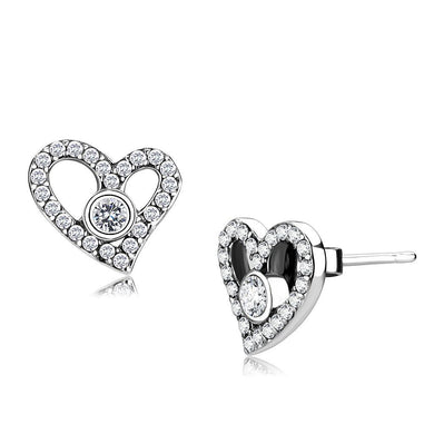 DA075 - High polished (no plating) Stainless Steel Earrings with AAA Grade CZ  in Clear