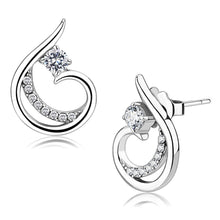 Load image into Gallery viewer, DA077 - High polished (no plating) Stainless Steel Earrings with AAA Grade CZ  in Clear