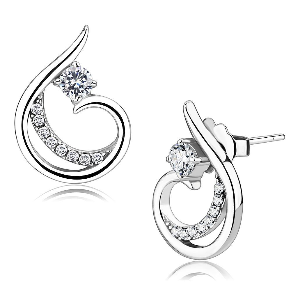 DA077 - High polished (no plating) Stainless Steel Earrings with AAA Grade CZ  in Clear