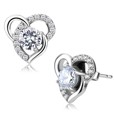 DA078 - High polished (no plating) Stainless Steel Earrings with AAA Grade CZ  in Clear