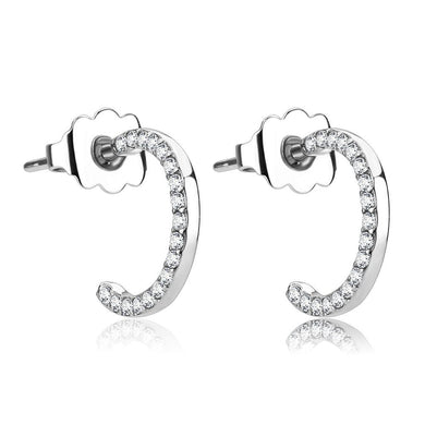 DA079 - High polished (no plating) Stainless Steel Earrings with AAA Grade CZ  in Clear