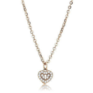 DA086 - IP Rose Gold(Ion Plating) Stainless Steel Chain Pendant with AAA Grade CZ  in Clear