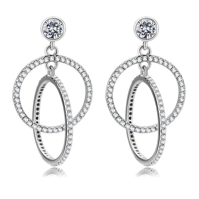 DA100 - High polished (no plating) Stainless Steel Earrings with AAA Grade CZ  in Clear