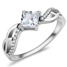 Load image into Gallery viewer, DA101 - High polished (no plating) Stainless Steel Ring with AAA Grade CZ  in Clear