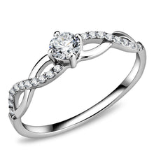 Load image into Gallery viewer, DA104 - High polished (no plating) Stainless Steel Ring with AAA Grade CZ  in Clear