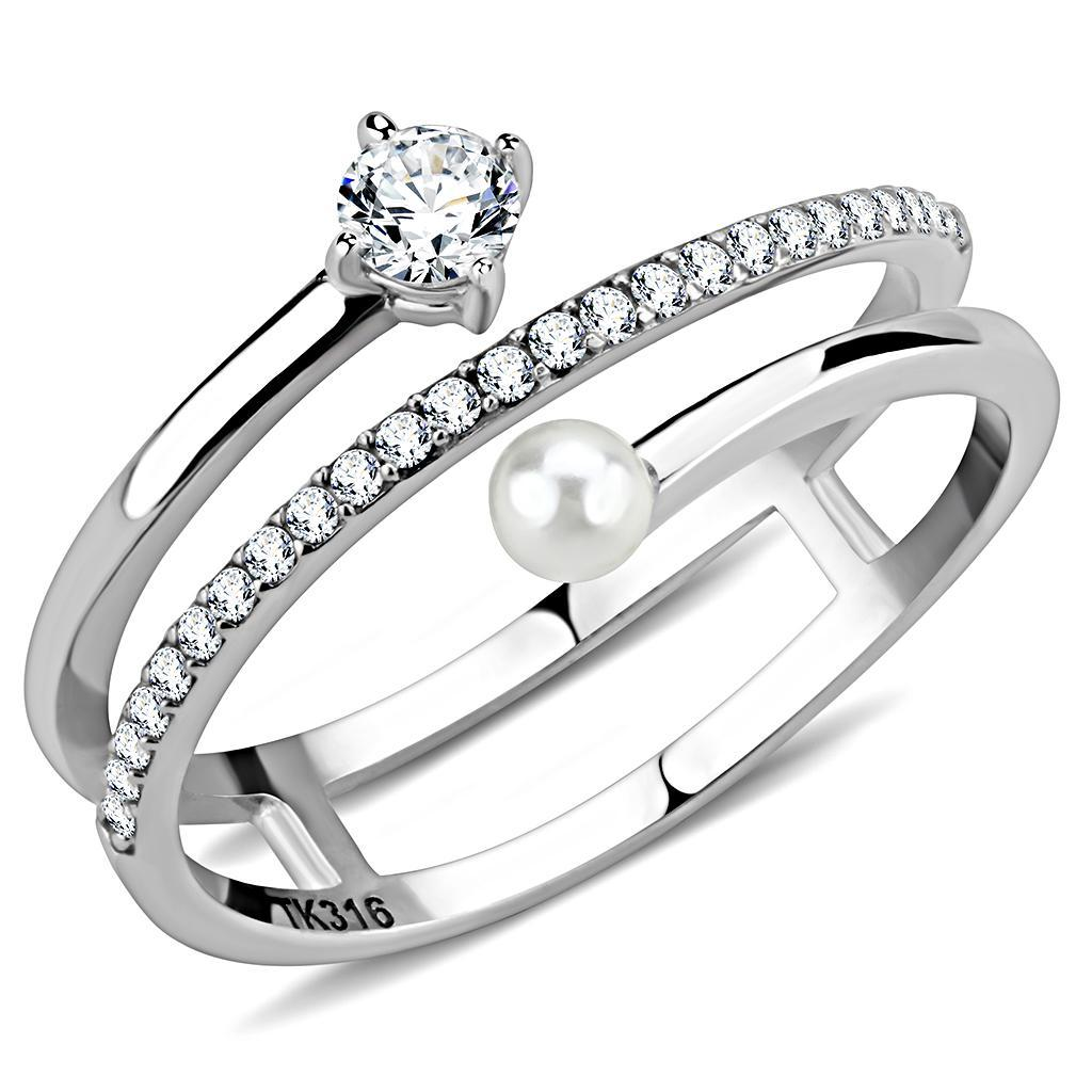 DA134 - High polished (no plating) Stainless Steel Ring with AAA Grade CZ  in Clear