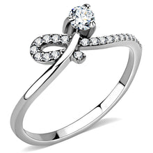 Load image into Gallery viewer, DA142 - High polished (no plating) Stainless Steel Ring with AAA Grade CZ  in Clear