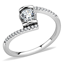Load image into Gallery viewer, DA151 - High polished (no plating) Stainless Steel Ring with AAA Grade CZ  in Clear