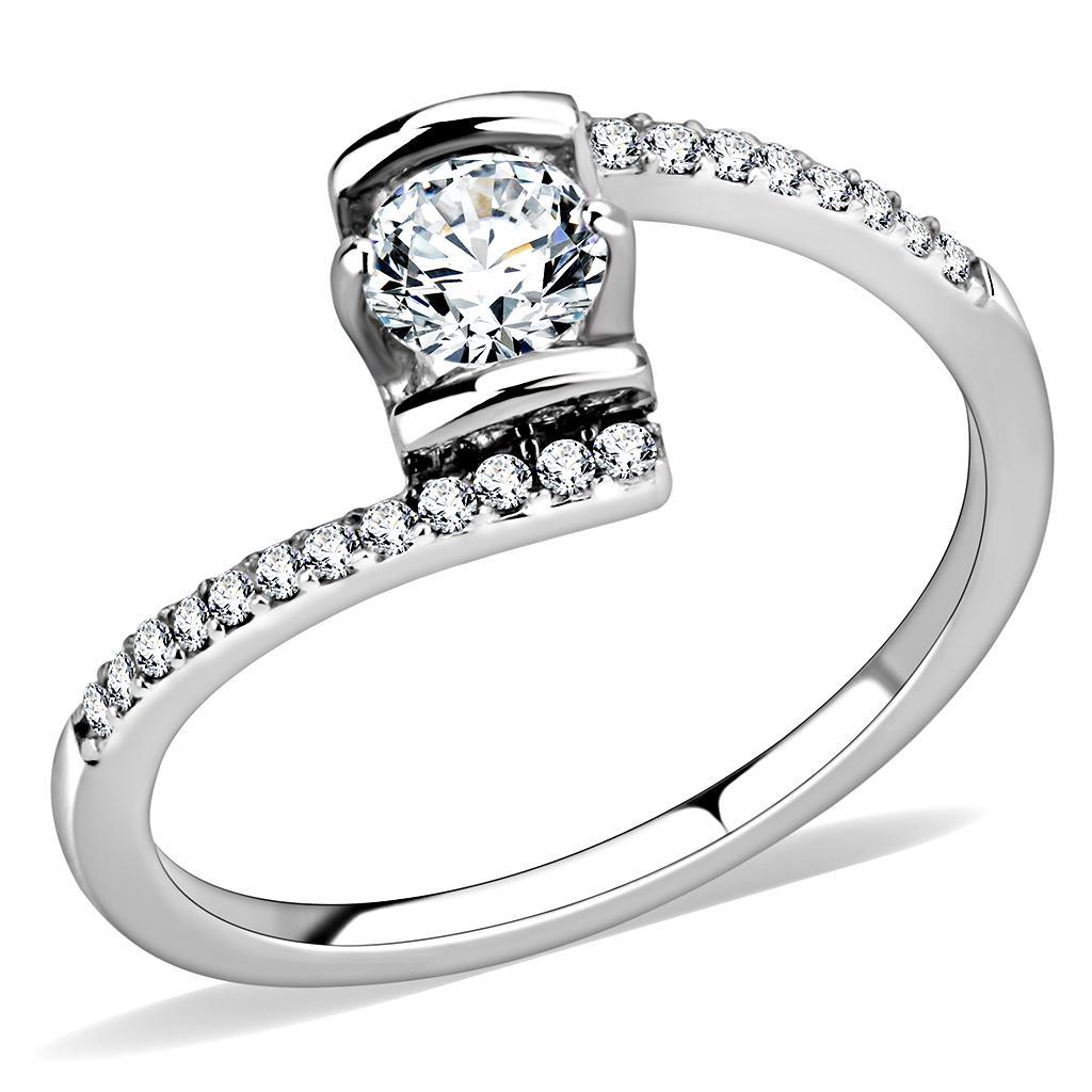 DA151 - High polished (no plating) Stainless Steel Ring with AAA Grade CZ  in Clear