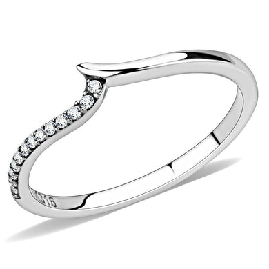 DA162 - High polished (no plating) Stainless Steel Ring with AAA Grade CZ  in Clear