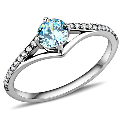 DA167 - High polished (no plating) Stainless Steel Ring with AAA Grade CZ  in Sea Blue