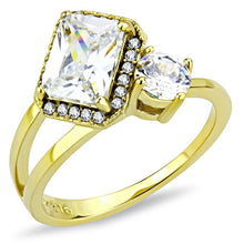 Load image into Gallery viewer, DA173 - IP Gold(Ion Plating) Stainless Steel Ring with AAA Grade CZ  in Clear