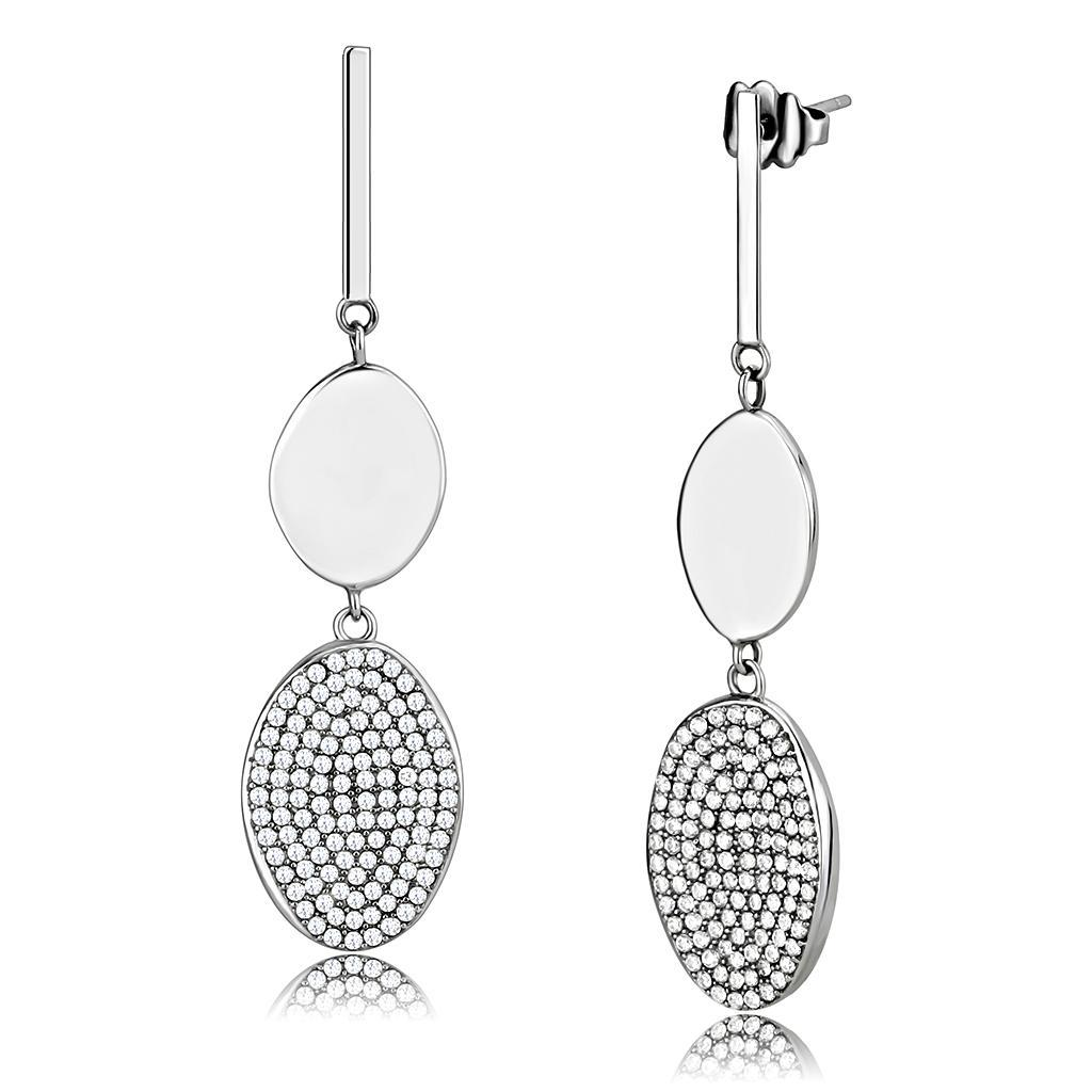 DA193 - High polished (no plating) Stainless Steel Earrings with AAA Grade CZ  in Clear
