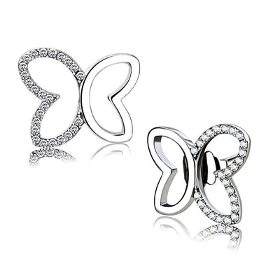 DA209 - High polished (no plating) Stainless Steel Earrings with AAA Grade CZ  in Clear