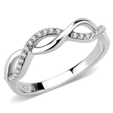 DA243 - High polished (no plating) Stainless Steel Ring with AAA Grade CZ  in Clear
