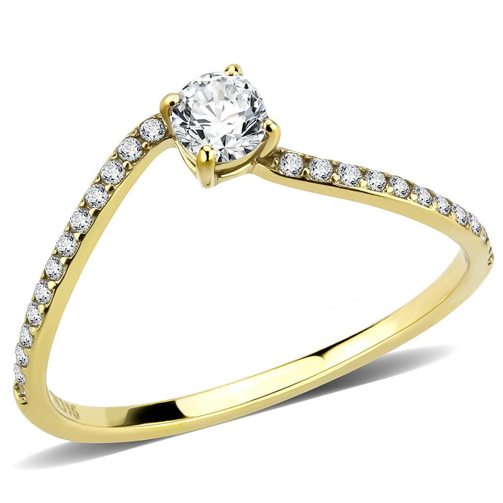 DA256 IP Gold(Ion Plating) Stainless Steel Ring with AAA Grade CZ in Clear