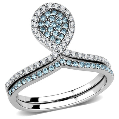 DA268 - High polished (no plating) Stainless Steel Ring with AAA Grade CZ  in Sea Blue