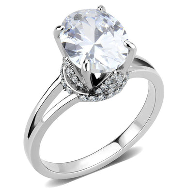 DA314 - No Plating Stainless Steel Ring with AAA Grade CZ  in Clear