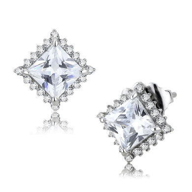 DA326 - No Plating Stainless Steel Earrings with AAA Grade CZ  in Clear