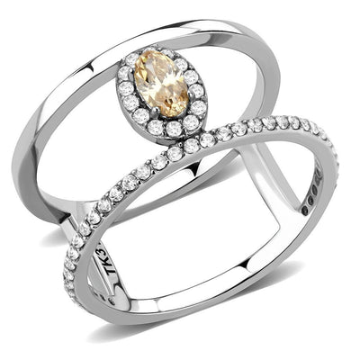 DA352 High polished (no plating) Stainless Steel Ring with AAA Grade CZ in Champagne