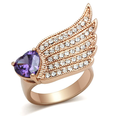 GL151 IP Rose Gold(Ion Plating) Brass Ring with AAA Grade CZ in Amethyst