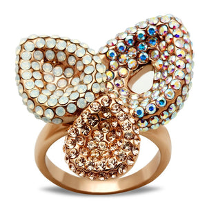 GL219 IP Rose Gold(Ion Plating) Brass Ring with Top Grade Crystal in Multi Color