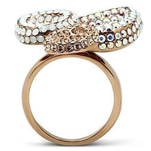 Load image into Gallery viewer, GL219 IP Rose Gold(Ion Plating) Brass Ring with Top Grade Crystal in Multi Color