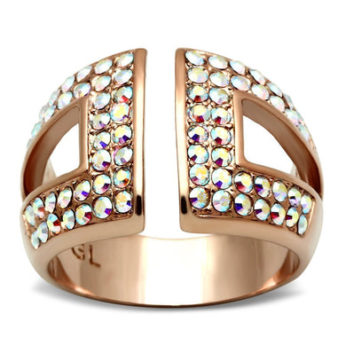 GL222 - IP Rose Gold(Ion Plating) Brass Ring with Top Grade Crystal  in Aurora Borealis (Rainbow Effect)