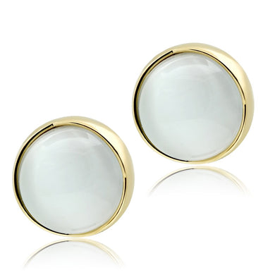 GL253 - IP Gold(Ion Plating) Brass Earrings with Synthetic Cat Eye in White
